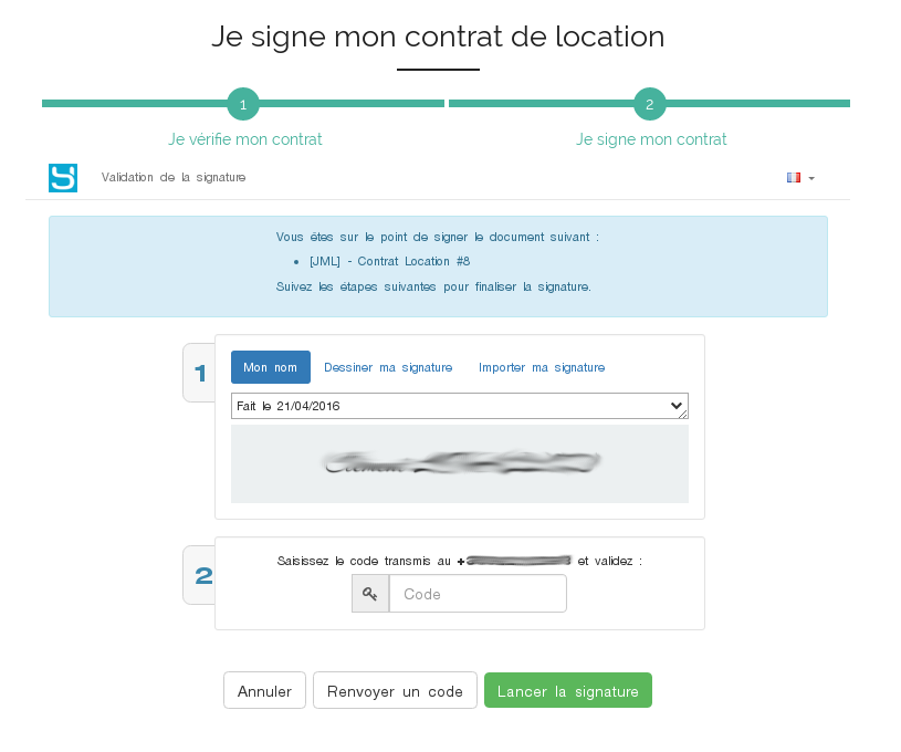 Signature du contrat de location